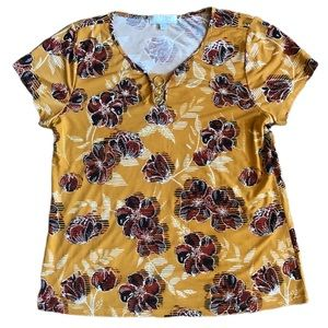 Carolyn Taylor Blouse Yellow Floral Gold Accent